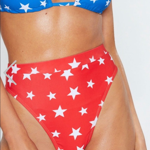 Nasty Gal Other - Nasty Gal Red & White Stars Swim Suit Bottom Sz 6